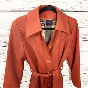 Jackets & Blazers - Vintage Belted Button Up Coat Burnt Orange
